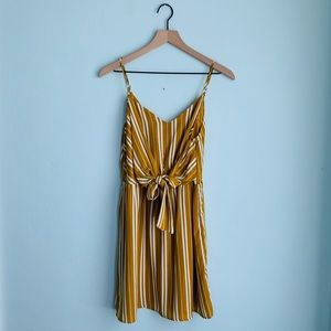 Everly Medium Mustard Striped Tie Dress